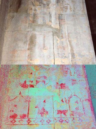 Lukisan tersembunyi di Angkor Wat melukiskan adegan kehidupan. Asli (atas), gambar diperjelas (bawah)