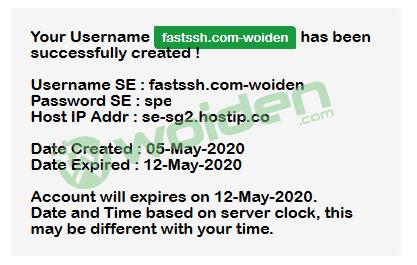 Akun Softether VPN berhasil dibuat di fastssh.com