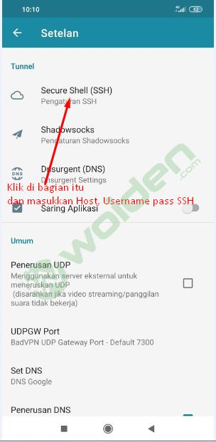setting ssh di http injector